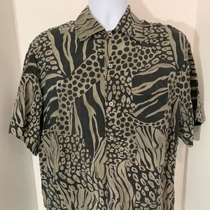 Brioni Short Sleeve Multi-Colored Shirt Size Small
